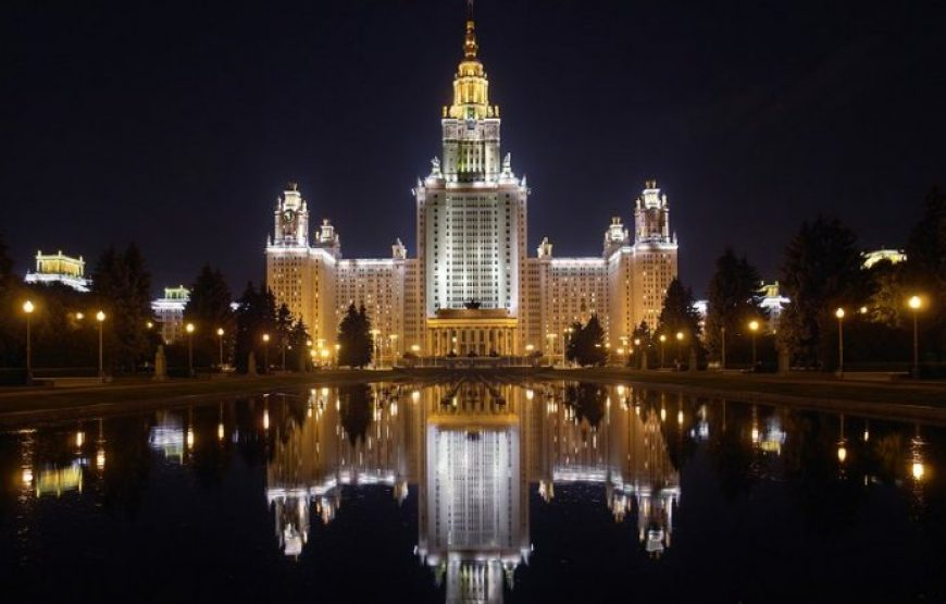 Moscow State University Main Building at night