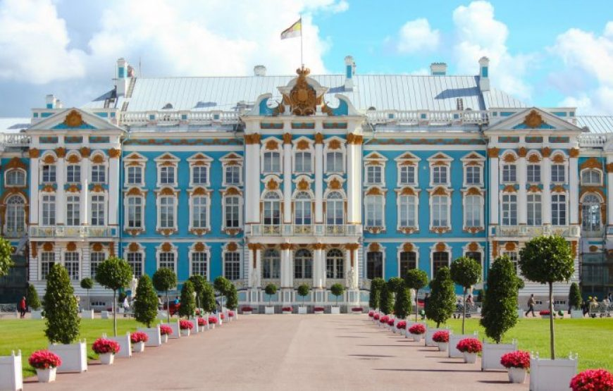 Flag of the Russian Empire on the Catherine Palace Main Building