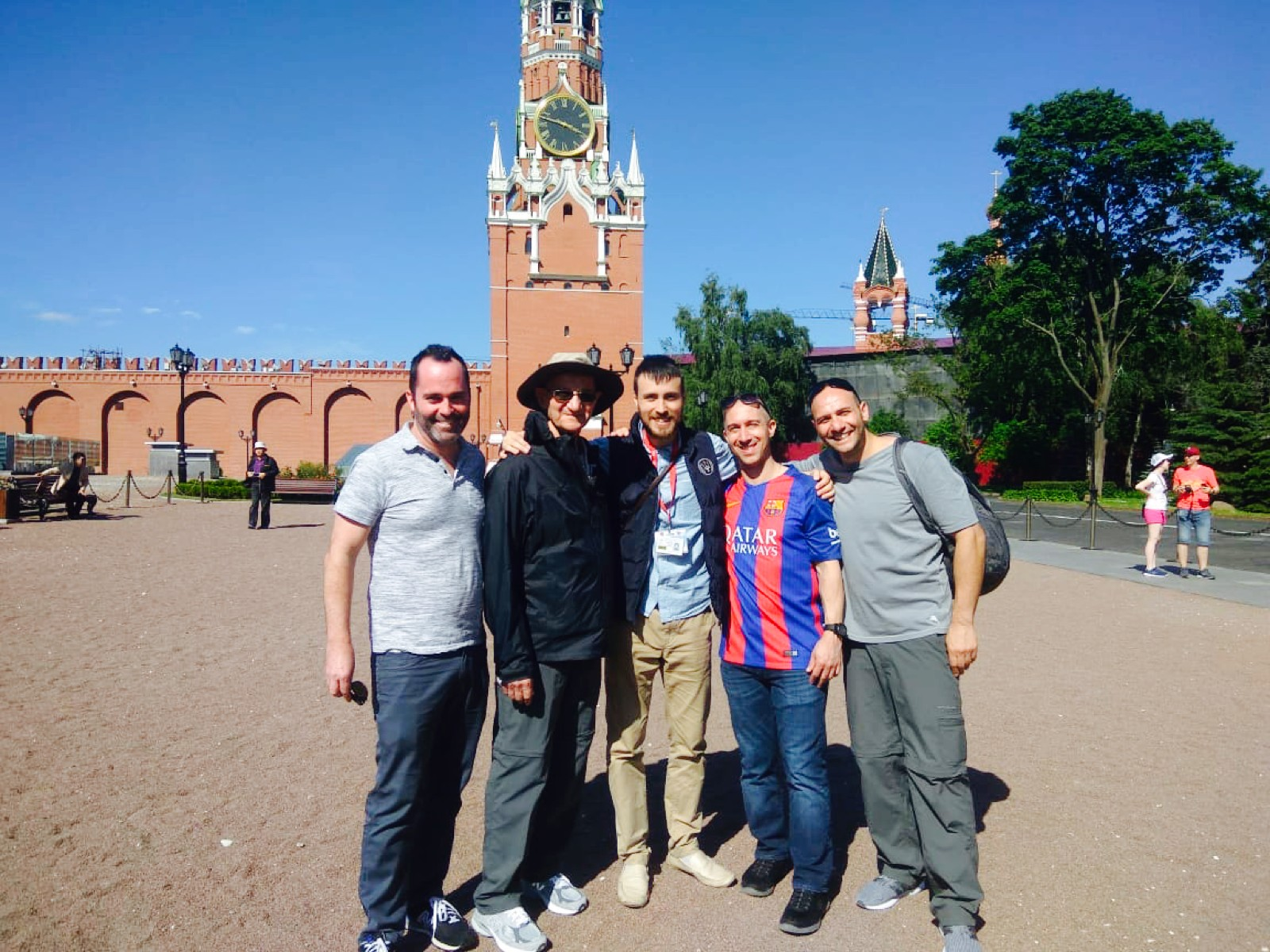Pradiz' guests from the United States at the Kremlin with guide Viktor during the WC2018