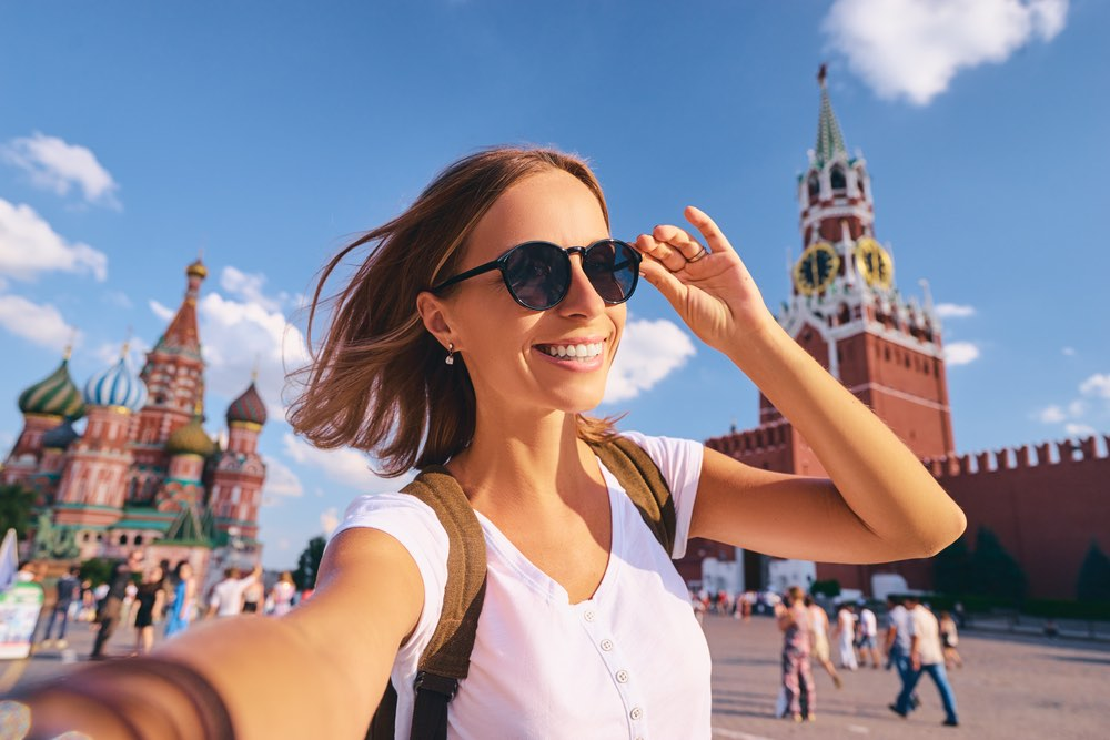 lady tourist in Red Square